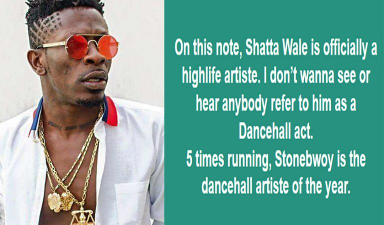 Shatta Wale is officially a highlife artiste – Facebook User